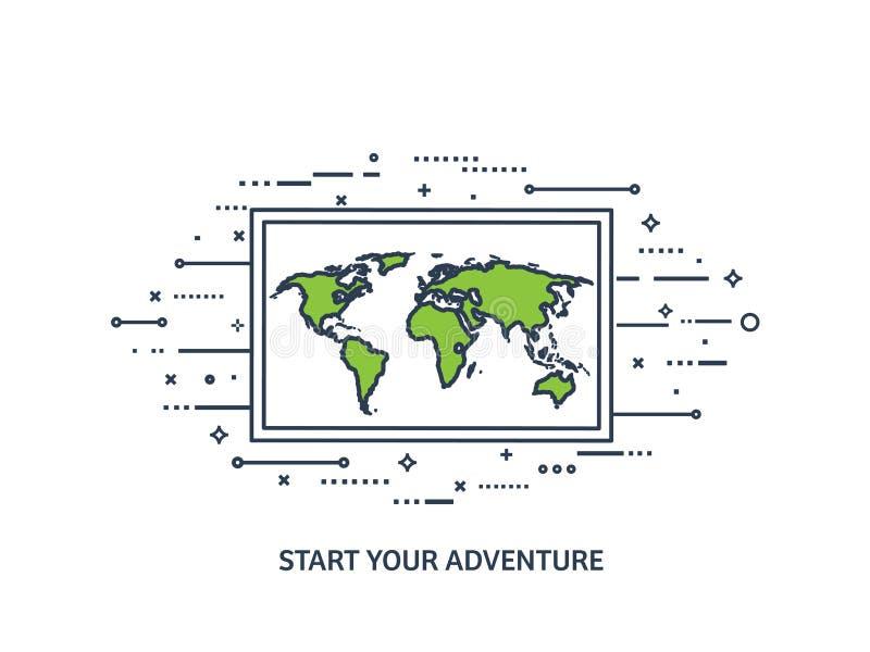 Mapa del mundo en un estilo plano Tierra, globo nearsighted Ruta y destino icono Línea arte alineado stock de ilustración