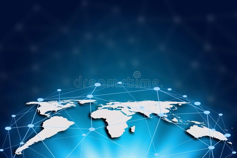 Mapa del mundo en un fondo de la tecnología, líneas que brillan intensamente conectadas, g stock de ilustración