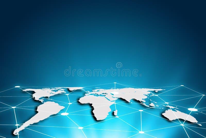 Mapa del mundo en un fondo de la tecnología, líneas que brillan intensamente conectadas, g ilustración del vector