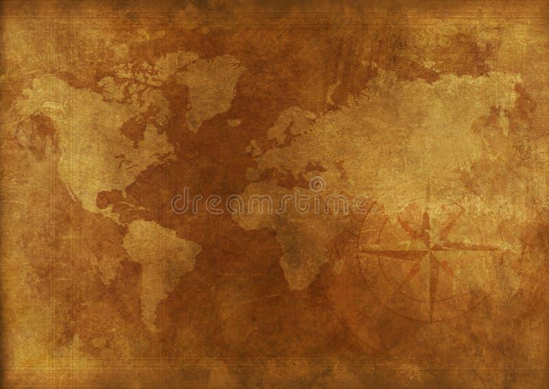 Mapa del mundo envejecido fotografía de archivo