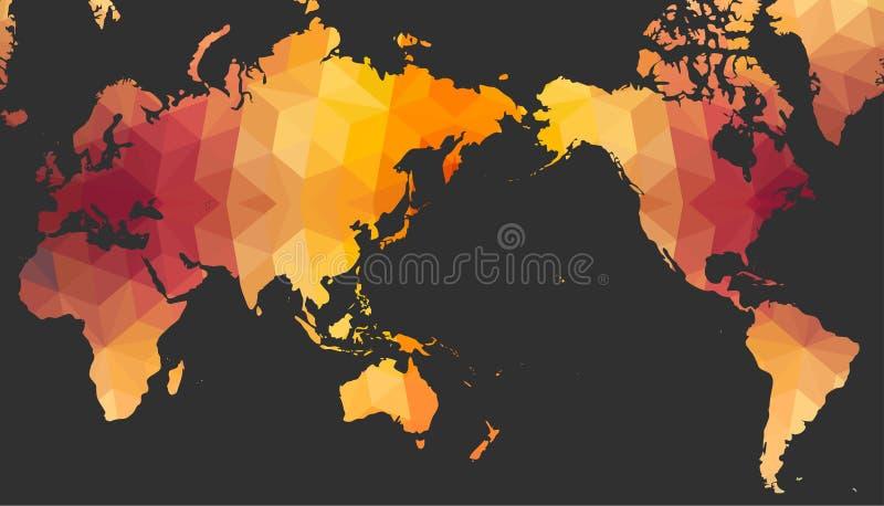 Mapa del mundo del estilo poligonal ilustración del vector