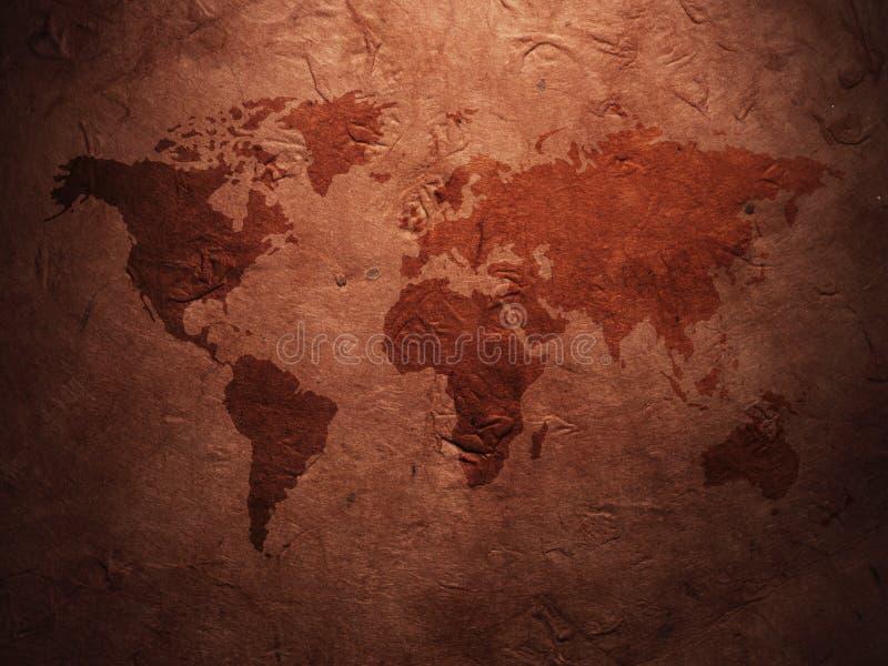 Mapa del mundo exhibido en el papel viejo acanalado fotografía de archivo