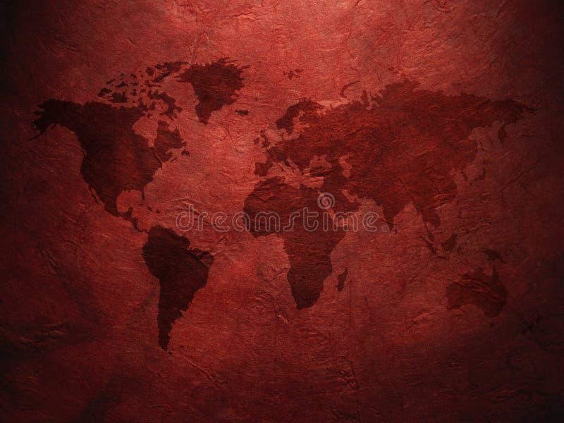 Mapa del mundo exhibido en el papel viejo acanalado imagen de archivo