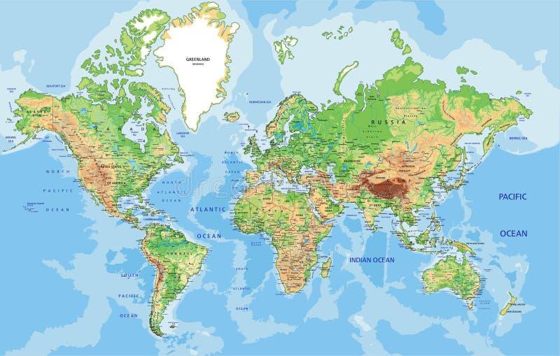 Mapa del mundo físico altamente detallado con el etiquetado Ilustración del vector ilustración del vector