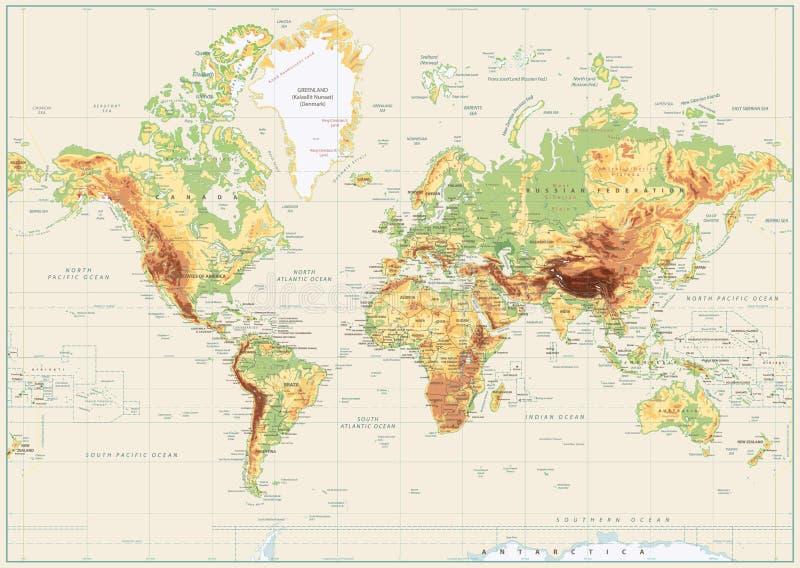 Mapa del mundo físico detallado aislado en color blanco retro ilustración del vector
