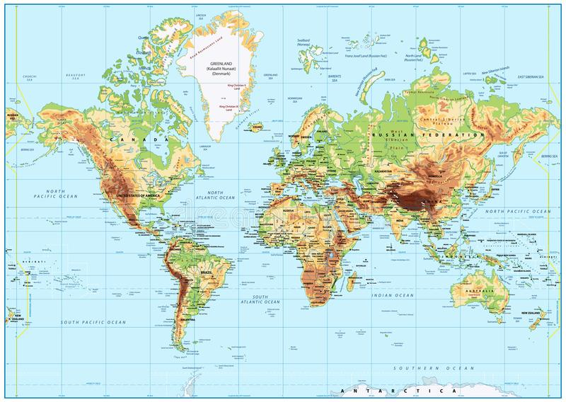 Mapa del mundo físico detallado con el etiquetado Ninguna batimetría stock de ilustración