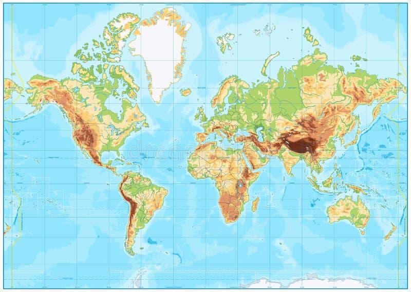 Mapa del mundo físico en blanco y batimetría stock de ilustración