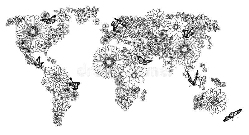 Mapa del mundo floral para los libros de colorear stock de ilustración