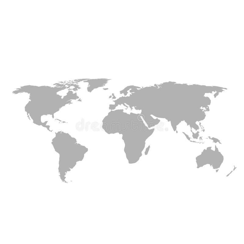 Mapa del mundo gris en el fondo blanco ilustración del vector