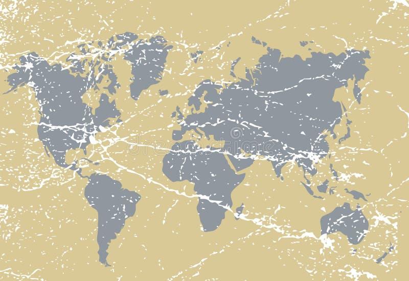 Mapa del mundo del Grunge en el papel envejecido estropeado ilustración del vector