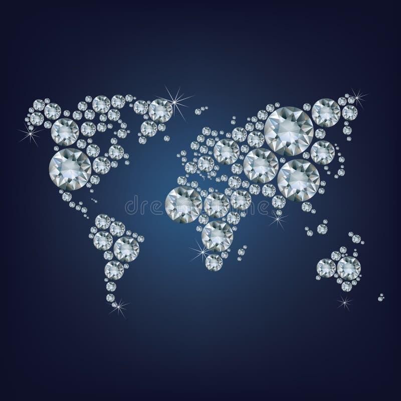 Mapa del mundo hecho como porción de diamante costoso stock de ilustración