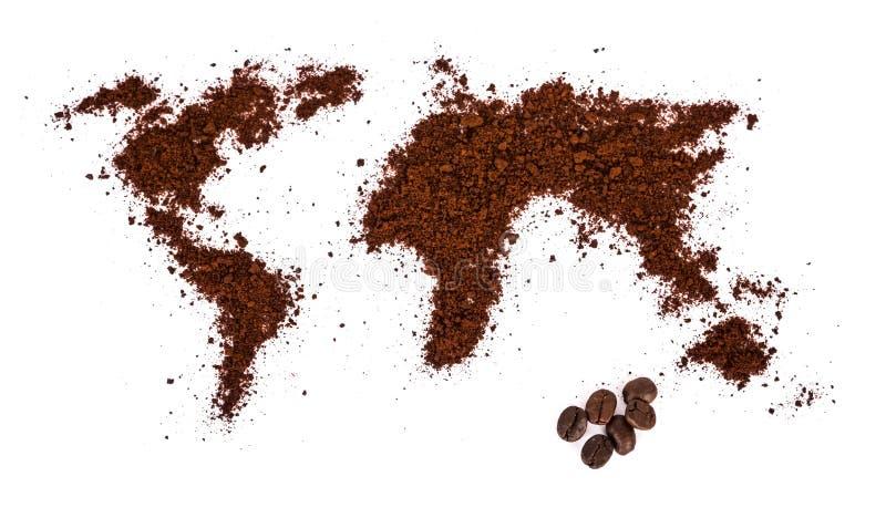 Mapa del mundo hecho del café imágenes de archivo libres de regalías