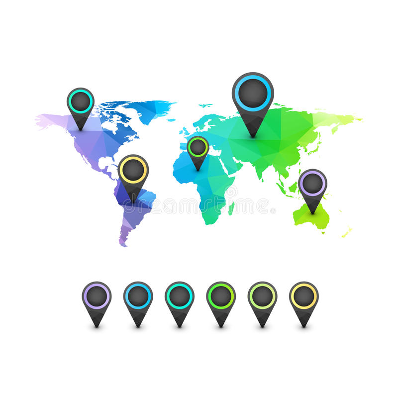 Mapa del mundo infographic de color del arco iris stock de ilustración