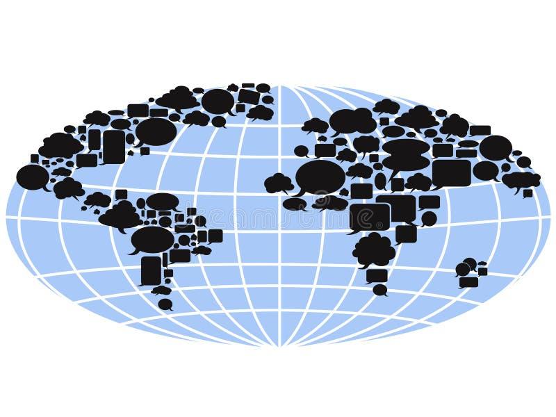 Mapa del mundo llenado de las burbujas del discurso ilustración del vector