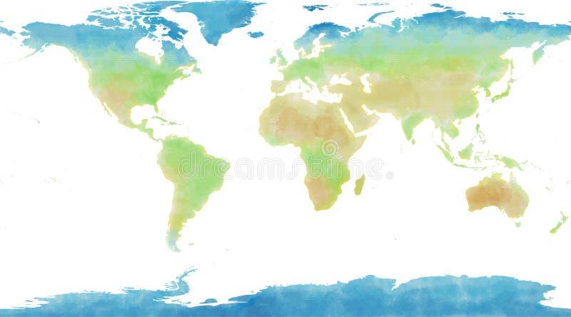 Mapa del mundo, mano dibujada, pinceladas ilustradas ilustración del vector