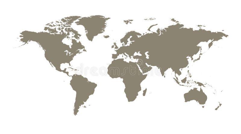 Mapa del mundo marrón en blanco en el fondo blanco Mapa del mundo VE stock de ilustración