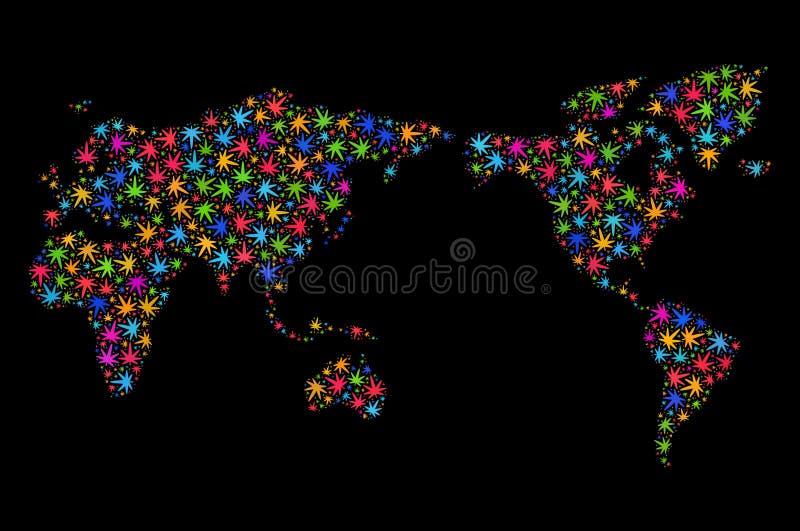 Mapa del mundo del mosaico de las hojas multicoloras de la marijuana libre illustration