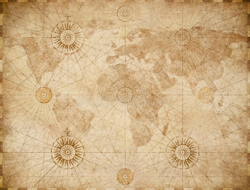 Mapa del mundo náutico medieval viejo stock de ilustración