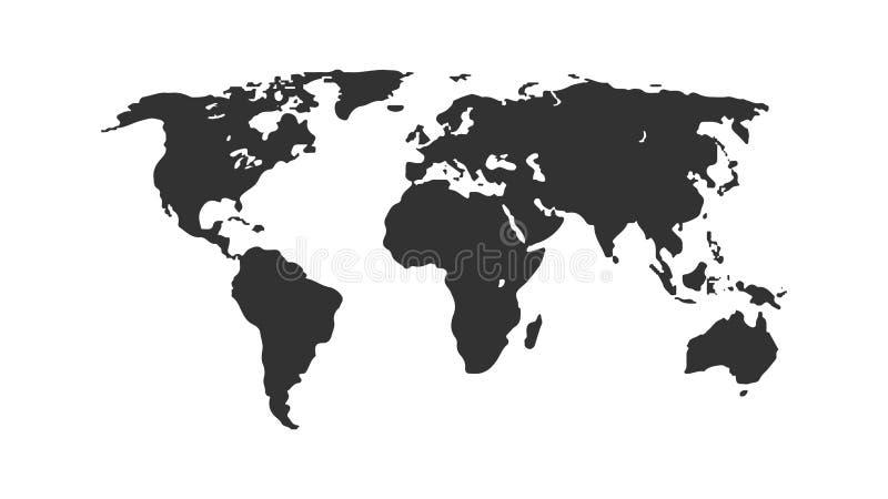 Mapa del mundo negro del color aislado en el fondo blanco Plantilla plana abstracta con el mapa del mundo Concepto global, ejempl ilustración del vector