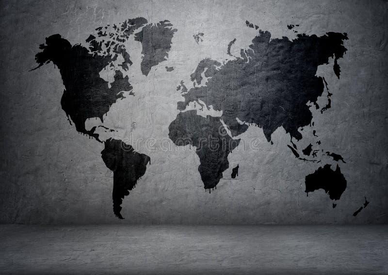 mapa del mundo Negro-coloreado en el muro de cemento imagen de archivo libre de regalías