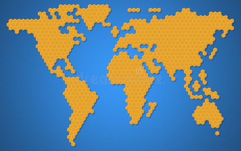 Mapa del mundo o de la tierra del continente de la región con estilo de la forma de la colmena de la abeja o del panal o de la mi stock de ilustración