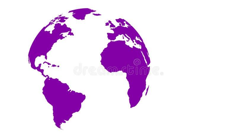 Mapa del mundo púrpura del globo en el fondo blanco stock de ilustración