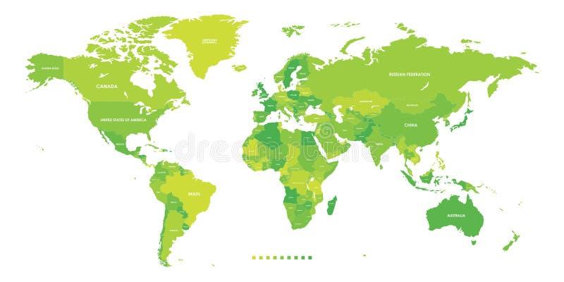 Mapa del mundo para los países políticos más detallados Ilustración del vector stock de ilustración