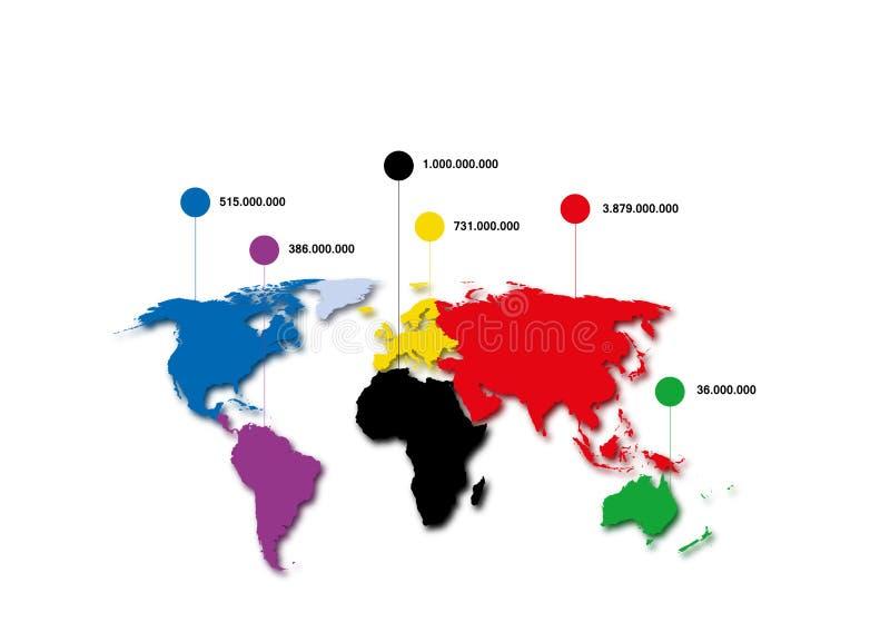 Mapa del mundo, población de mundo stock de ilustración