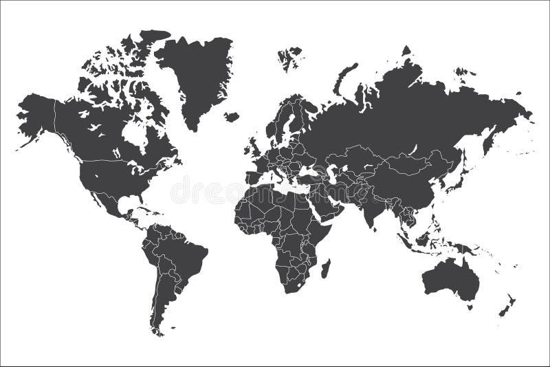Mapa del mundo político aislado en el fondo blanco, ejemplo del vector stock de ilustración