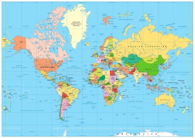 Mapa del mundo político altamente detallado con el etiquetado libre illustration