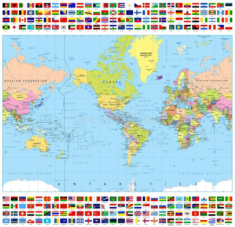 Mapa del mundo político centrado de América y todas las banderas del mundo stock de ilustración