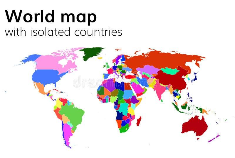 Mapa del mundo político con los países y los continentes aislados ilustración del vector