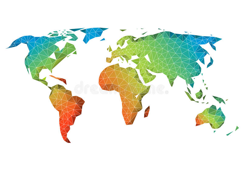 Mapa del mundo polivinílico bajo abstracto, vector libre illustration