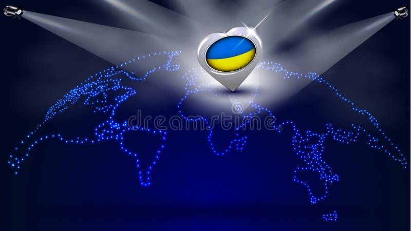 Mapa del mundo punteado con la bandera ucraniana nacional ilustración del vector