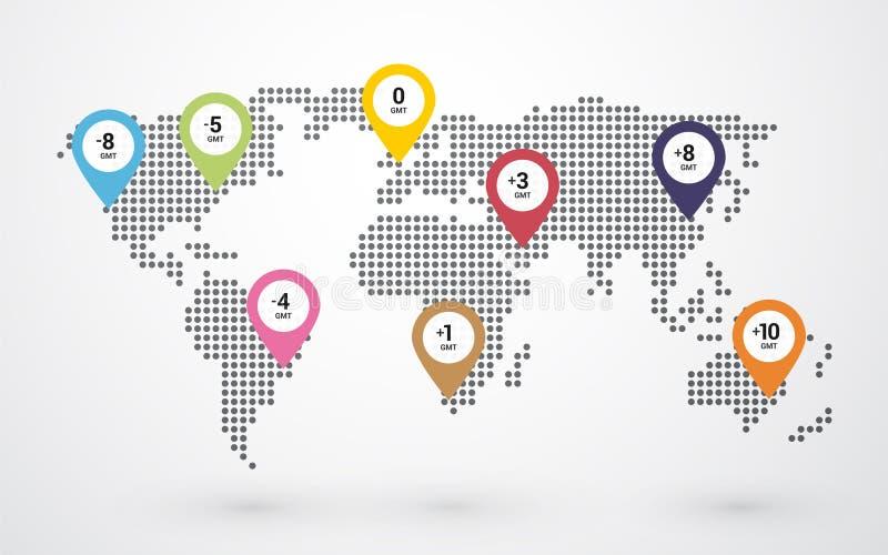 mapa del mundo punteado con las zonas horarias stock de ilustración