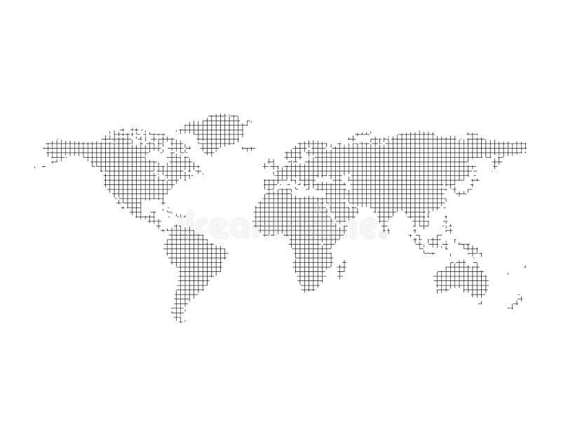 Mapa del mundo rayado abstracto Aislado en el fondo blanco Vector ilustración del vector