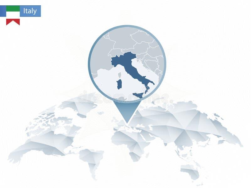 Mapa del mundo redondeado abstracto con el mapa detallado fijado de Italia libre illustration