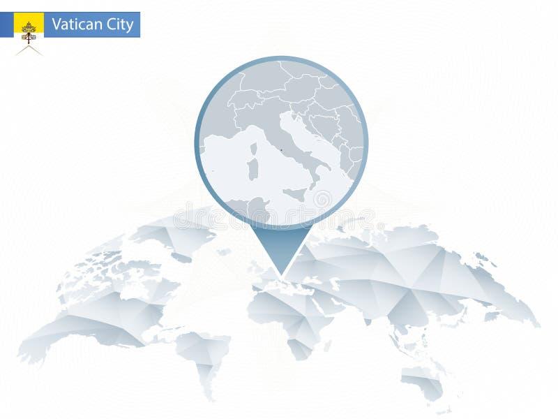 Mapa del mundo redondeado abstracto con el mapa detallado fijado de la Ciudad del Vaticano libre illustration