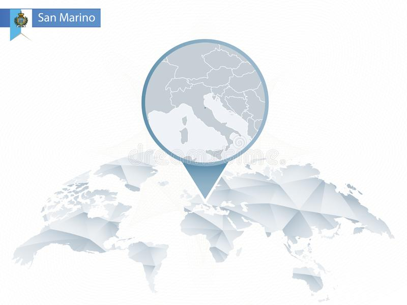 Mapa del mundo redondeado abstracto con el mapa detallado fijado de San Marino libre illustration