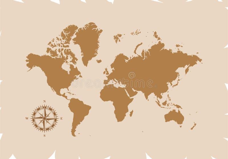 Mapa del mundo retro con el compás, ejemplo del vector aislado en fondo marrón libre illustration