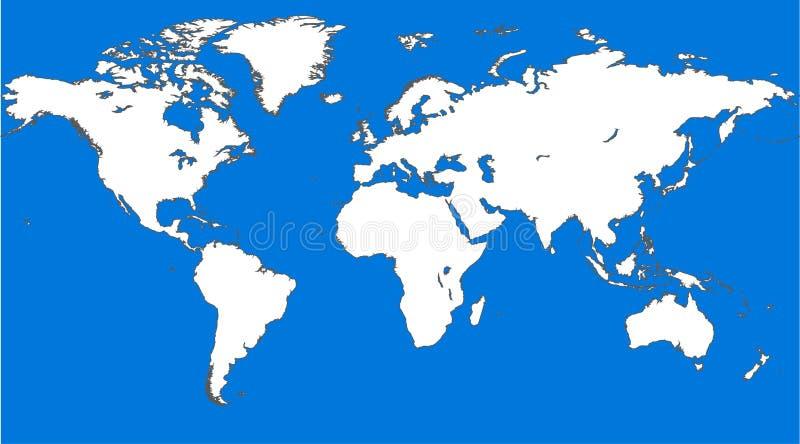 Mapa del mundo similar azul Espacio en blanco del mapa del mundo Plantilla del mapa del mundo del vector del mapa del mundo Objet imagen de archivo