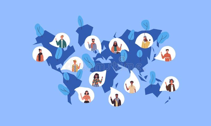 Mapa del mundo social de la gente internacional diversa stock de ilustración