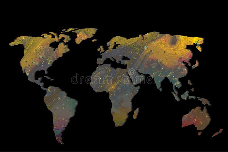 Mapa del mundo ?spero resumido en fondo negro fotografía de archivo