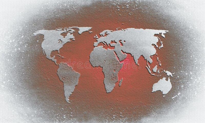 Mapa del mundo texturizado rojo stock de ilustración