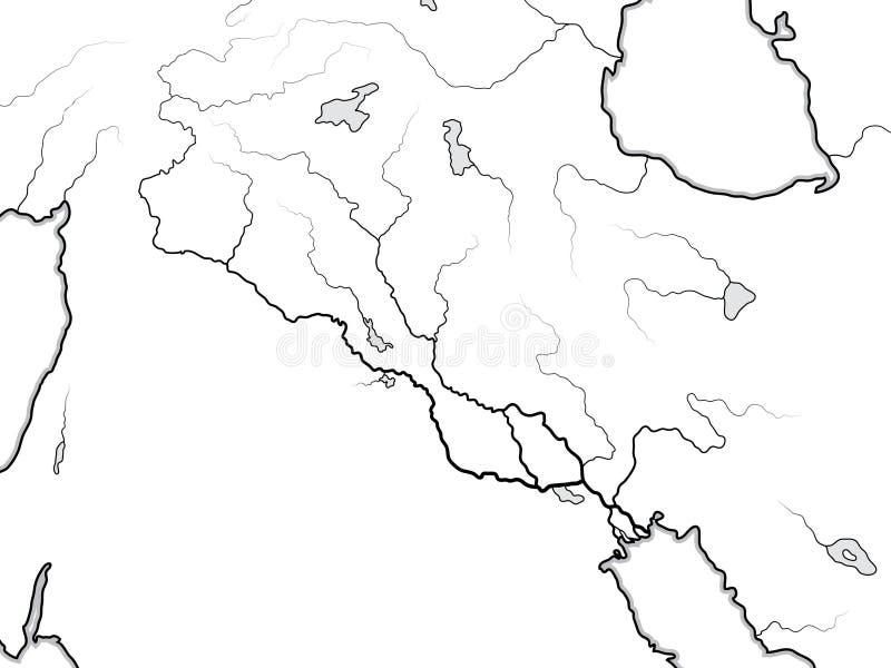Mapa del mundo Del TIGRIS y de EUPHRATES Valley: Iraq, Siria, Armenia, Levant, Medio Oriente, Golfo Pérsico Carta geográfica stock de ilustración