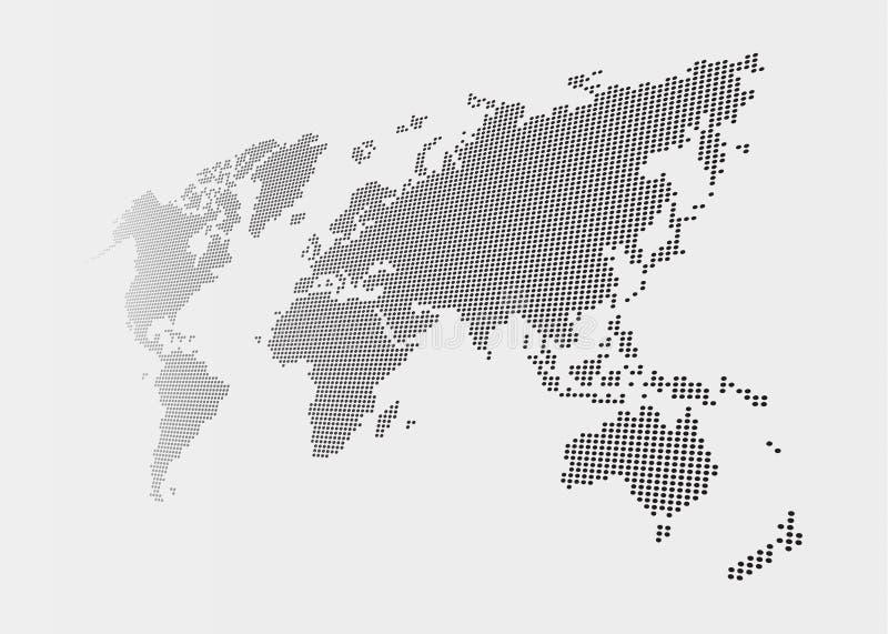 Mapa del mundo torcido y punteado del estilo en fondo gris libre illustration
