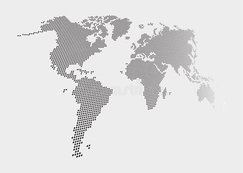 Mapa del mundo torcido y punteado del estilo en fondo gris stock de ilustración