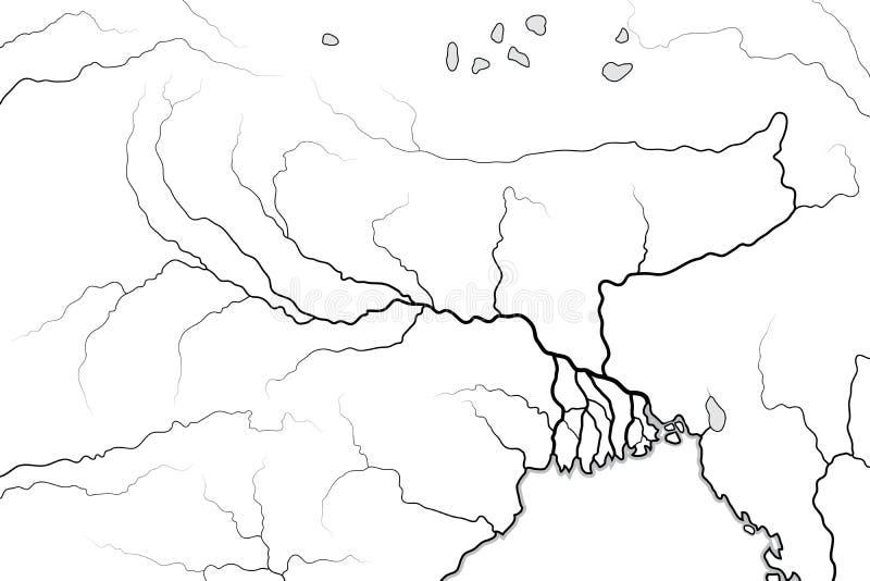 Mapa del mundo del valle y del delta del RÍO GANGES: La India, Nepal, Bengala, Bangladesh Carta geográfica libre illustration