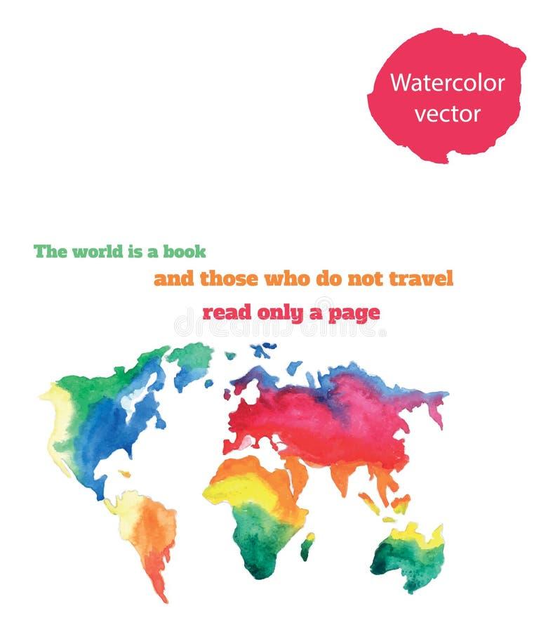 Mapa del mundo Varicolored del watercolour stock de ilustración
