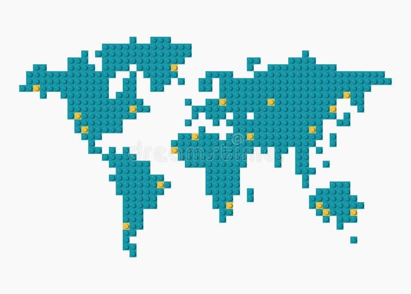Mapa del mundo del vector hecho de bloques plásticos azules y amarillos de la construcción en fondo transparente A mano stock de ilustración